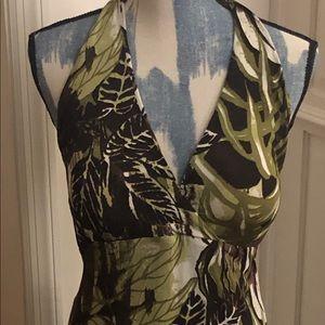 "Karen Kane Halter-Style ""Jungle"" Maxi Dress EUC"